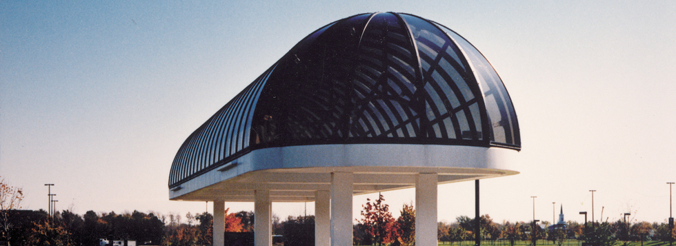 Dome shaped bus shelter